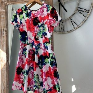 Milly Abstract Floral Scuba Dress